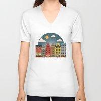 stockholm V-neck T-shirts featuring Stockholm by HOONISME