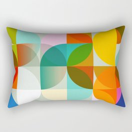 mid century geometry vibrant colors Rectangular Pillow