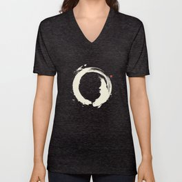 Black Enso / Japanese Zen Circle Unisex V-Neck