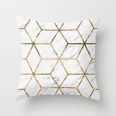 Gatsby golden marble Throw Pillow