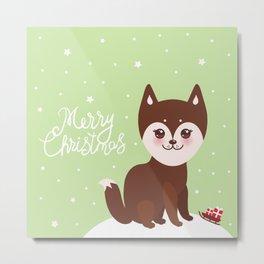 Merry Christmas New Year's card design funny brown husky dog, Kawaii face Metal Print