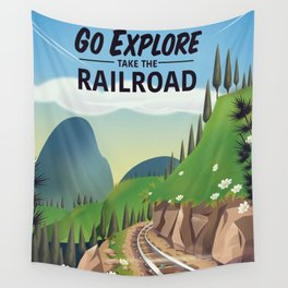 Go Explore! Take the Railroad Wall Tapestry