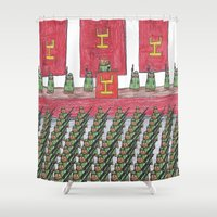 military Shower Curtains featuring Dust Piggies Military Rally by dustpiggies