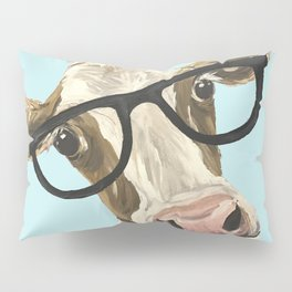 Cute Glasses Cow Up Close Cow With Glasses Pillow Sham