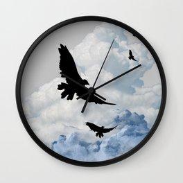 BLACK CROWS IN CLOUDY SKIES ART Wall Clock