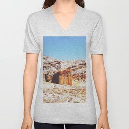 sand desert with orange mountain in California, USA with summer blue sky Unisex V-Neck