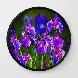 PURPLE IRIS GREEN GARDEN  FLOWERS FLORAL ART Wall Clock