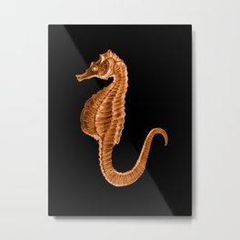 Seahorse ocean sea in black background Metal Print