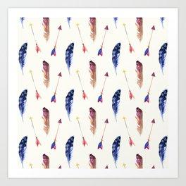 Trendy bohemian pink blue watercolor arrows feathers Art Print
