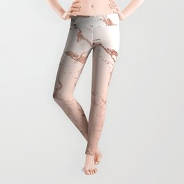Pink blush white ombre gradient rose gold marble pattern Leggings