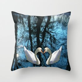 Swans and reflection Throw Pillow