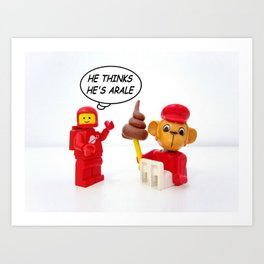 "space lego meeting the ""arale wannabe"" monkey Art Print"