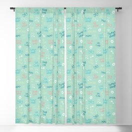 First love: Handdrawn doodle & text pattern in aquamarine Blackout Curtain