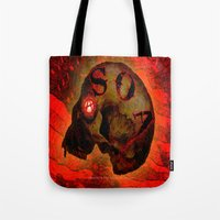 anarchy Tote Bags featuring ANARCHY - 005 by Lazy Bones Studios