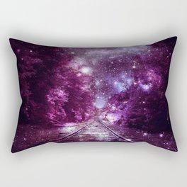 Dream Train Tracks : Next Stop Anywhere purple pink Rectangular Pillow