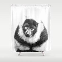 Black and white lemur animal portrait Shower Curtain