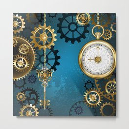 Turquoise Background with Gears ( Steampunk ) Metal Print