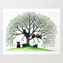 Borders Whimsical Cats in Tree Art Print