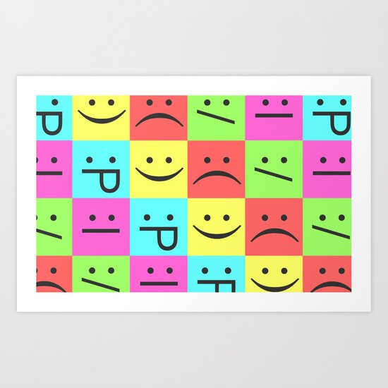 Smiley Chess Board Art Print