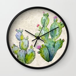 Water Color Prickly Pear Cactus Adobe Background Wall Clock