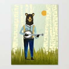 Bear's Bourree - Bear Playing Banjo Canvas Print