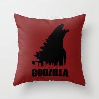 godzilla Throw Pillows featuring Godzilla by Nick Kemp