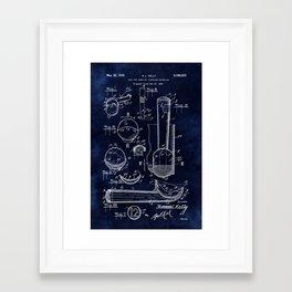Ice Cream Scoop Blueprint Framed Art Print
