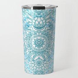 Turquoise Blue, Teal & White Protea Doodle Pattern Travel Mug
