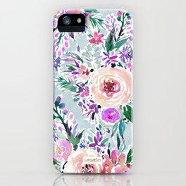 WILD DANCE Ice Blue Floral iPhone Case