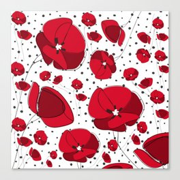 I Love Red Poppies Canvas Print