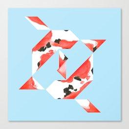 Tangram Koi - Blue background Canvas Print