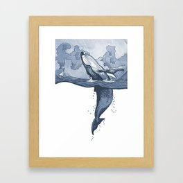Hump Back Whale breaching in Stormy Seas with tiny boat - nautical themed illustration Framed Art Print
