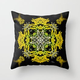 Crowning Goldenrod and Silver king Kaleidoscope Scanography Throw Pillow