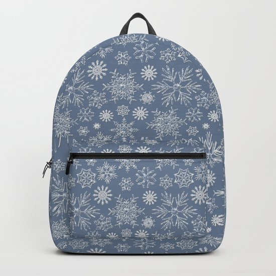 Merry Christmas- Abstract christmas snow star pattern on fresh grey Backpack