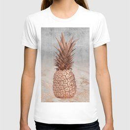Pineapple in Glitter Marble Rose Gold And Concrete T-shirt