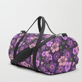 Violet flower pattern Duffle Bag