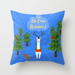Lla I'ma Reindeer Throw Pillow