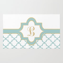 Moroccan Trellis Pattern with Name Plate and Monogram Rug
