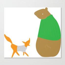 Fox and Bear Canvas Print