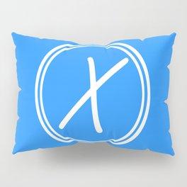 Monogram - Letter X on Dodger Blue Background Pillow Sham