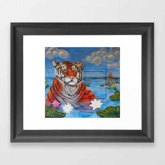 Bathing Tiger Framed Art Print