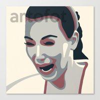 kim kardashian Canvas Prints featuring Kim Kardashian CRYING FACE Poster Print by artofot