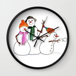 Snow Family Portrait Wall Clock
