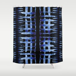 "Black and Blue Watercolor Pattern ""Cross Hatch"" Shower Curtain"