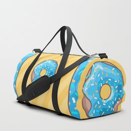 Blue Donut on Yellow Background Duffle Bag