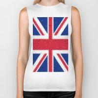 british flag Biker Tanks featuring British flag mosaic by Zora Zora