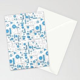 Blue White Geometric Shapes Stationery Cards