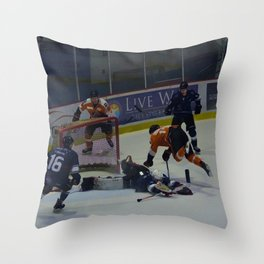 Dive for the Goal - Ice Hockey Throw Pillow