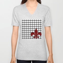 Red Fleur Unisex V-Neck