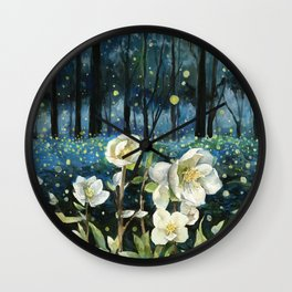 Magical Forest at Night, Fireflies and Helleborus Wall Clock